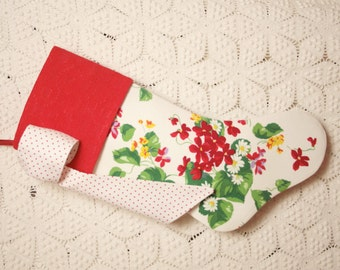 Sweet Red Alpine Meadow Violets and Daisies Wilendur Vintage Tablecloth Stocking with Antique Coverlet Cuff and Big Bow