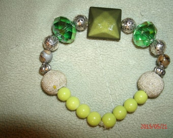 Silvertones and Greens Beaded Bracelet