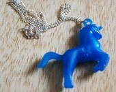 "Bright Blue Plastic Unicorn Charm Necklace with 16"" chain Novelty Gift Cute Fun Horse Retro"