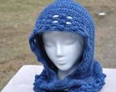 Royal Blue Hooded Cowl, scarf, Neck Warmer