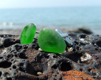 Organic bottle green sea glass cufflinks for him or her with Genuine Natural Amalfi Sea Glass /nr61