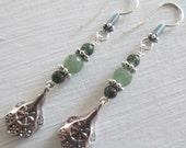 Calm ~ Green Aventurine Bohemian style earrings ~ Heart Chakra gemstones
