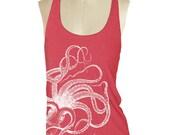 Womens OCTOPUS TANK TOP--- American printed apparel Tri-Blend Racerback S M L (8 Color Options) skip n whistle