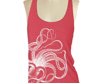 Womens OCTOPUS TANK TOP--- American printed apparel Tri-Blend Racerback S M L (8 Color Options) skip n whistle