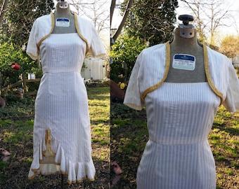 Sale 30% OFF 70s Sundress / Vintage Dress / 70s Dress and Shrug Set in Beige and Metallic US Junior Size 0
