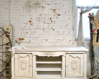 Painted Cottage Chic Shabby Hand Made Farmhouse Media Cabinet