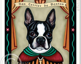 8x10 Boston Terrier Art - Patron Saint of Tenacity - Art print by Krista Brooks