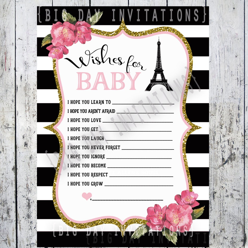 paris french baby shower game wishes for baby bebe