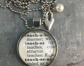 One Word Dictionary Necklace- Teacher with Heart Charm