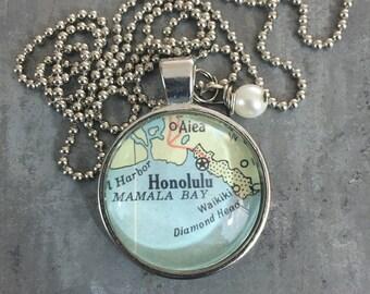 Map Pendant Necklace Honolulu Hawaii HI