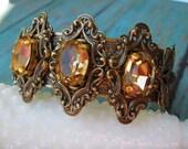 Crystal cuff Bracelet - Vintage Style Antique Brass Swarovski Topaz Crystal cuff Bracelet - B591