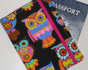 Passport Cover Holder - Owls and Stripes Passport Cover