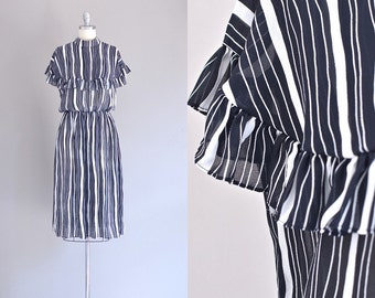 vintage 1970s grecian dress • maxi dress • 70s black and white dress • 70s chiffon dress