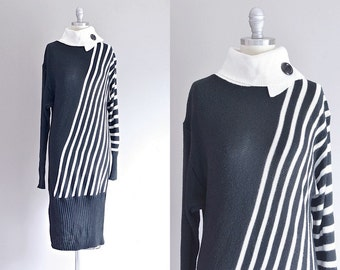 vintage sweater dress • black and white • xs small • 1990s sweater dress