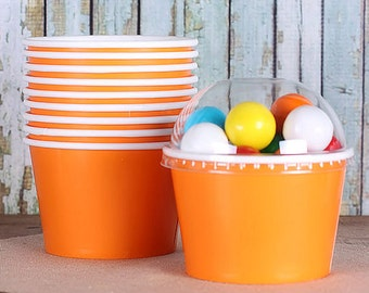 Large Orange Ice Cream Cups with Lids, Wedding Sundae Cups, Brownie Sundae Cups, Fruit Cups, Popcorn Cups, Candy Cup, Treat Cup (8oz - 18ct)