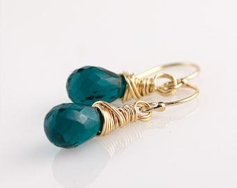 Teal Green Quartz 14K Gold Fill Earrings