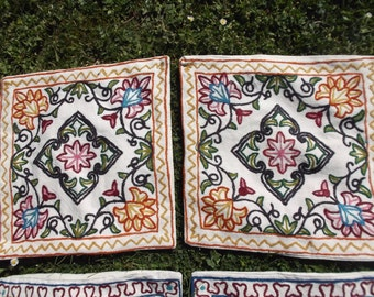 "2 Pairs of Hand made Crewel Kashmir Cushion Covers. 15 x 16"" . 40 cm x 41 cm. Price for a pair."