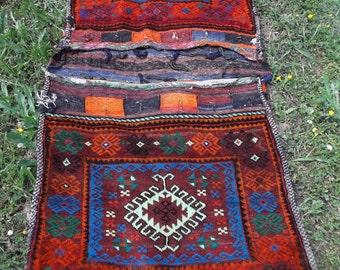 "Large 4 ft 10"" x 2 ft 2""  Tribal Khurjeen Saddle Bag. Hand Made. Kilim. Cushions/pillows. 148 cm x 66 cm"