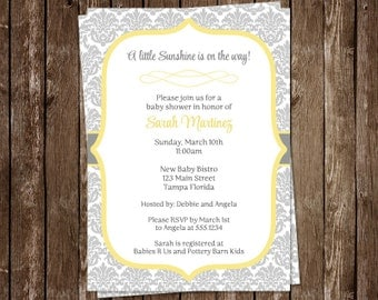 Sunshine, Baby Shower, Invitations, Damask, Gray, Lace, Parisian, 10 Printed Invites, Neutral, FREE Shipping, Customizable, Boy, Girl