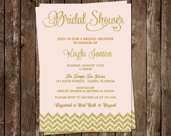 Bridal Shower Invitations, Pink, Gold, Glitter, Wedding, Chevron Stripes, Set of 10 Printed Cards, FREE Ship, PIGLG, Pink Glitter and Gold
