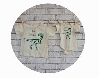 Dinosaur Big Brother Little Brother Tshirt Set, Sibling Gift, Velociraptor, Prehistoric Animal, Dino Tee Shirt, Baby Shower Gift