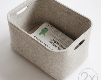 Small Size, Set of 2 / Custom-made Felt Storage Basket / Storage Box for a Shelf