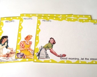 Yellow  Recipe Cards - Set Of 12 - 1950's Housewives - Sarcastic Cards - Mid Century Cards - Vintage Kitchen -  Retro Recipe Cards