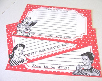 Retro Recipe Cards - Set of 12 - Mid Century - 1950's Housewives - Sarcastic Cards - Vintage Kitchen -  Funny Cards - Cooking Cards