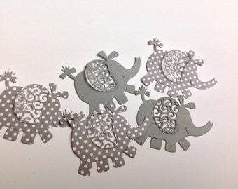 10 Large P per Elephants   gray with white polka dots  and gray