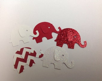 50 pc Paper Elephants Red glitter Whites Chevron Baby Shower  Party
