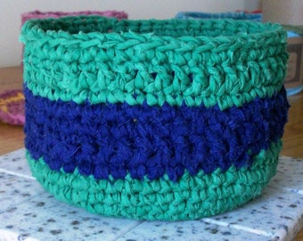 Basket, Cotton Crocheted, Blue and Green