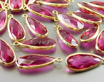 2 ruby / pink red glass long teardrop stone bezeled pendants, jewelry stones, bridesmaid gifts 5131G-RU (bright gold, ruby, 2 pieces)
