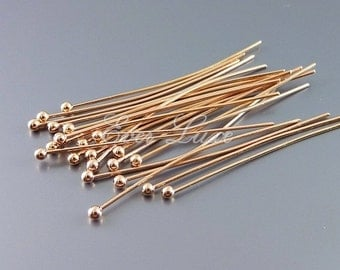 30 pieces of shiny rose gold jewelry pins, ball pins / head pins, pins for beads, flexible headpins B004-BRG-30 (30 pcs)