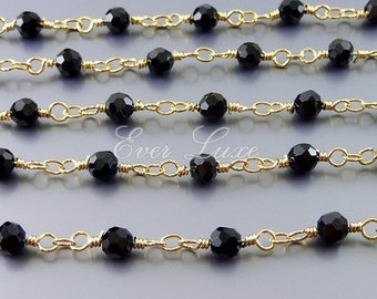 1 foot black onyx crystal glass beaded chain, crystal rondelle glass beaded wire wrapped chain, glass beads 5134G-BL