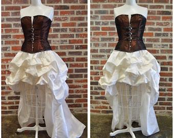 Custom dress-Steampunk wedding gown-steampunk prom-bustle dress-the secret boutique-denver corset maker-couture-prom-hi low dress