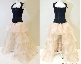 ruffle skirt-hi low ruffle skirt-formal skirt-steampunk skirt-wedding skirt-masquerade-gothic skirt-corset skirt-the secret boutique-rustic