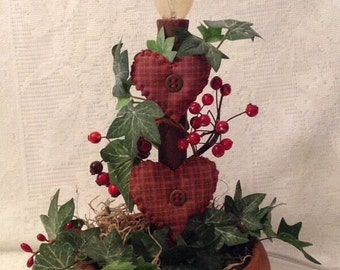 Valentine Heart Candle Stick Lamp Wooden Bowl Berries Handmade