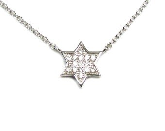 CZ Star of David Necklace in Sterling Silver
