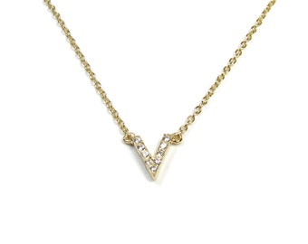 "CZ ""V"" Design Chevron Necklace"
