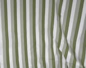 3-1/2 Yards Vintage Olive Green and White Stripe Cotton Fabric Cutter De Stash Fabric