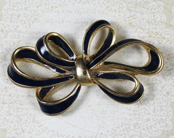 Navy Blue and Gold Ribbon Bow Brooch