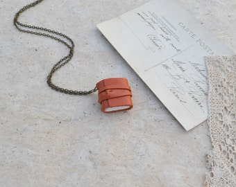 Little Orange Leather Book Necklace