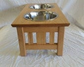 Custom Order For Maria Mission Style Solid Oak Elevated Dog Feeder