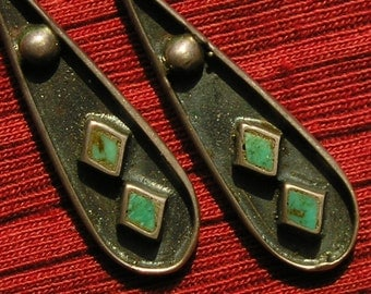 Southwest Sterling Silver Turquoise Diamond Inlay Dangle Earrings