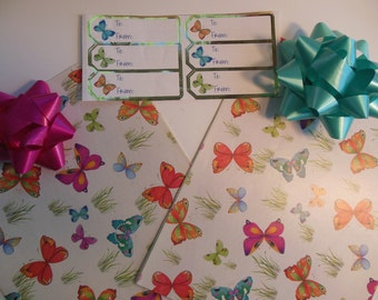 Butterfly Gift Wrap Set Wrapping Paper, Gift Tags, Coordinating Bows