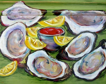 """OYSTERS on the half Shell** 11"""" x17"""" Print of my original OYSTERS"""