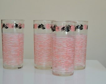 Set of 4 Vintage 1950s 1960s Pink and Black Glasses