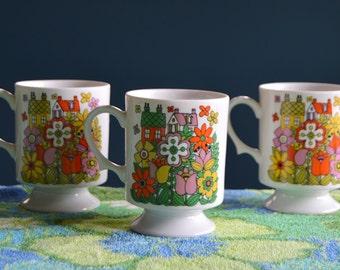 Set of Three Vintage 1960s Ceramic Mugs