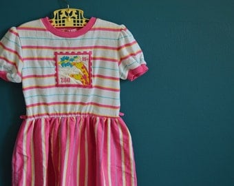 Vintage Pink and White Striped Dress with Giraffe Applique - Size 6x