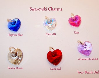 Swarovski Crystal Heart Charms Assorted You Pick a Color Clear AB, Siam Red, Alexandrite Violet, Rose, Sapphire, Smoke Mauve
